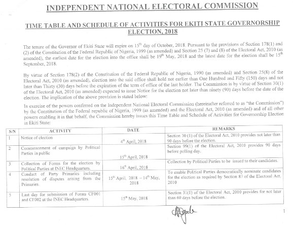 INEC releases timetable for Ekiti State Governorship Election