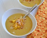 Butternut Squash Soup with Mango & Toasted Coconut (A Veggie Venture)