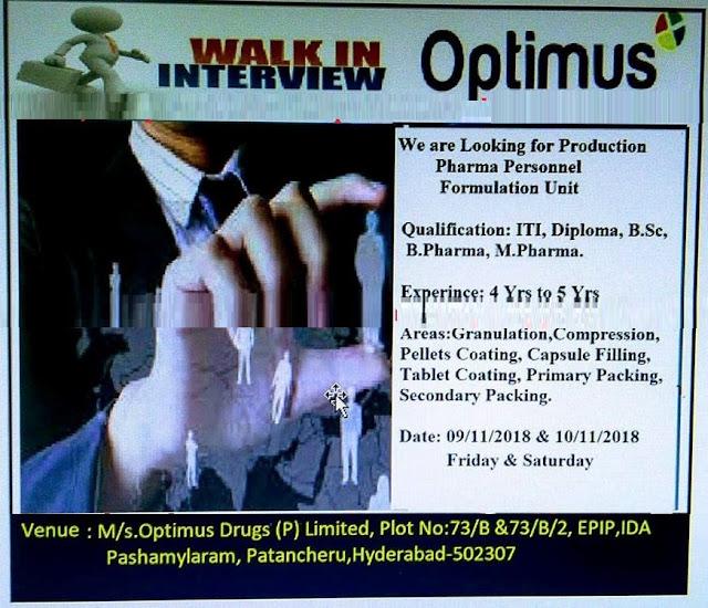 Optimus Drugs Pvt. Ltd - Walk-In Interviews For ITI, Diploma, B.Sc, B.Pharm, M.Pharm at 9 & 10 November