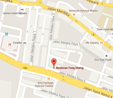 Malacca - Restoran Tong Sheng Map