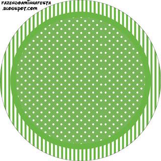 Verde con Lunares Blancos: Wrappers y Toppers para Cupcakes para Fiesta de 15 Años para Imprimir Gratis.