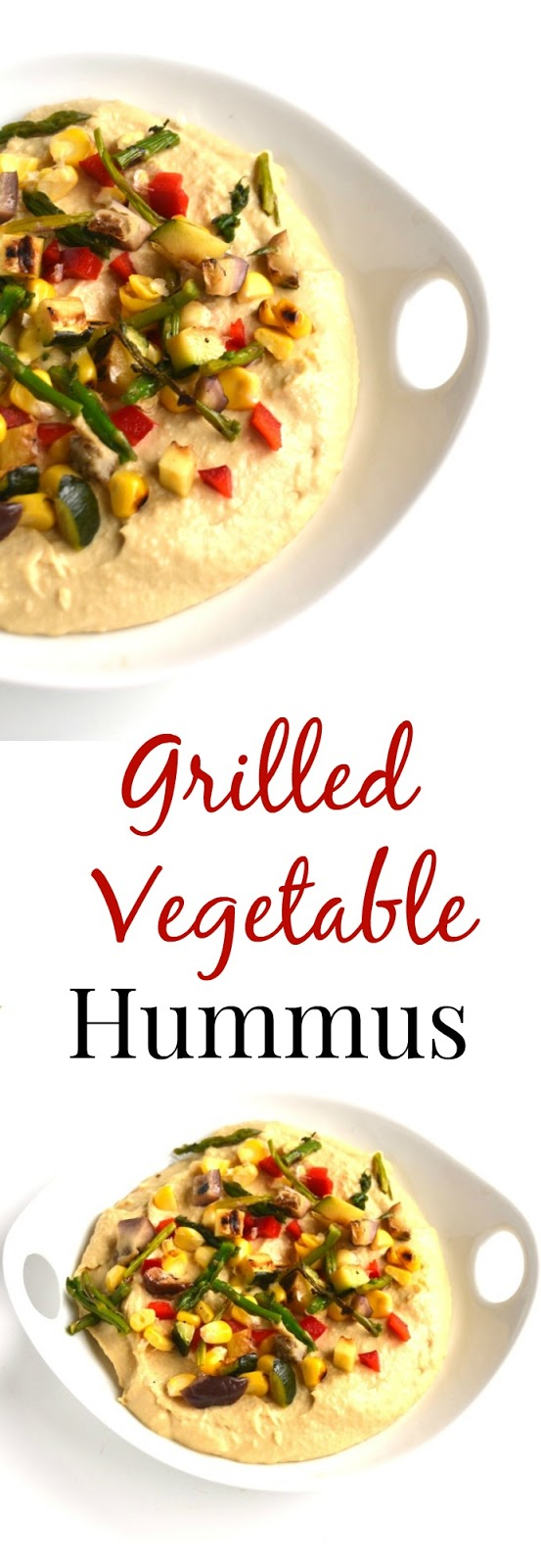 This simple Grilled Vegetable Hummus takes 10 minutes to make and is a delicious snack or appetizer! Customize with your favorite veggies and spices. www.nutritionistreviews.com