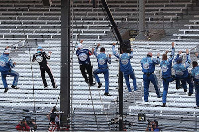 Kevin Harvick and Team Climb the Fence at Indy #NASCAR