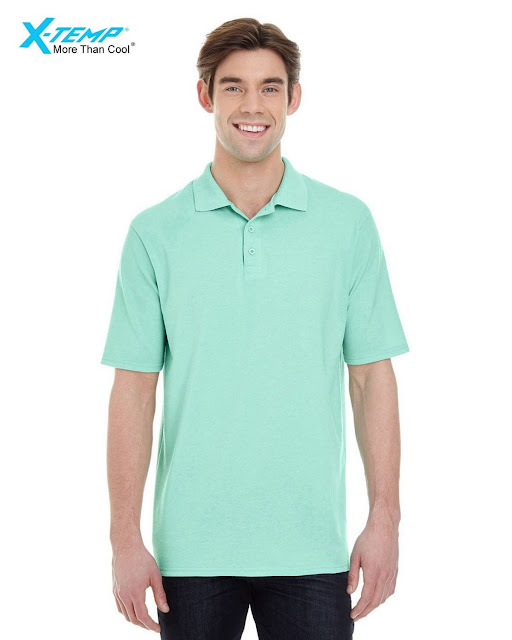 Hanes 055P Mens X-Temp Pique Short-Sleeve Polo- Clean Mint – XL