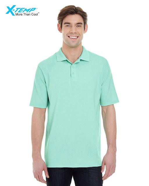 Hanes 055P Mens X-Temp Pique Short-Sleeve Polo- Clean Mint – XL