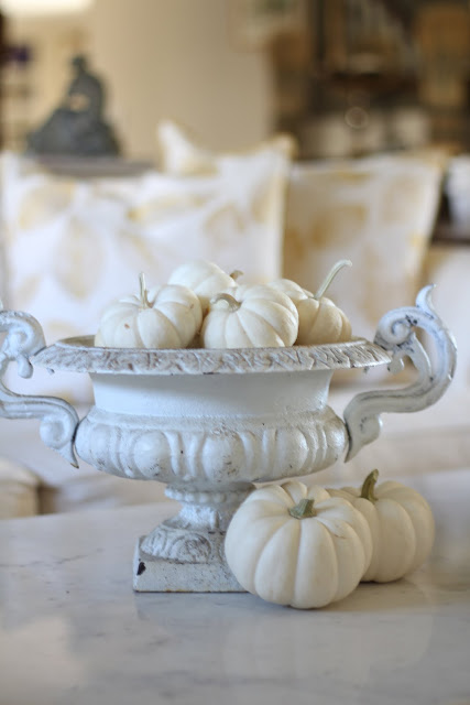 fall home tour white baby pumpkins in a antique french white urn