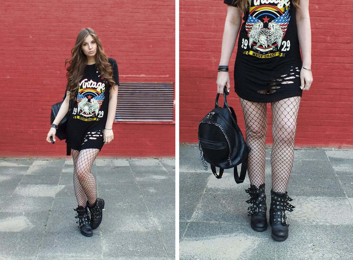 fashion love band shirt kleid netzstrumpfhose rockige boots. Black Bedroom Furniture Sets. Home Design Ideas