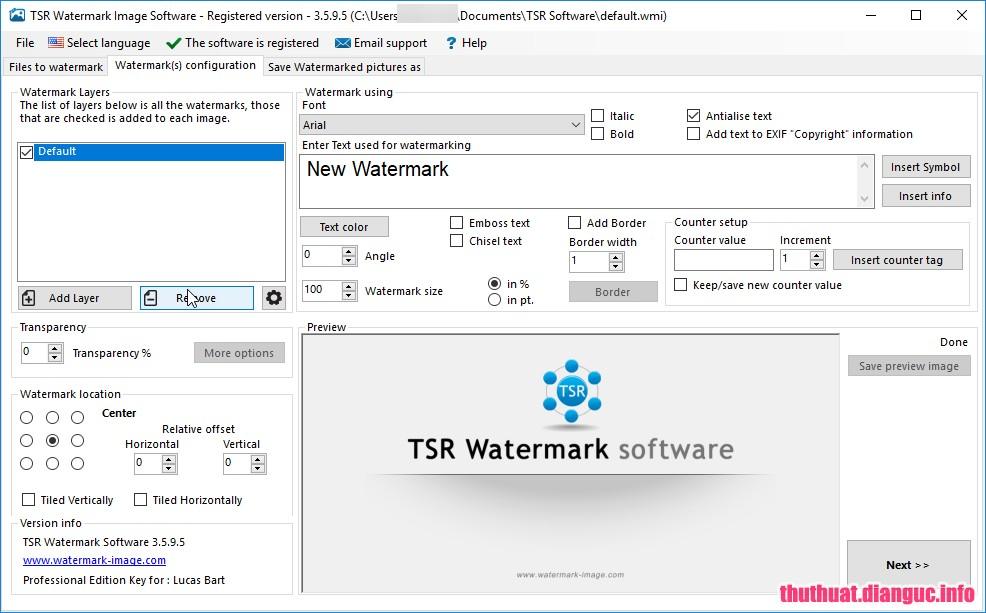 TSR Watermark Image Pro 3.5.9.5 Full Cr@ck + Portable – Phần mềm đóng dấu bản quyền hình ảnh