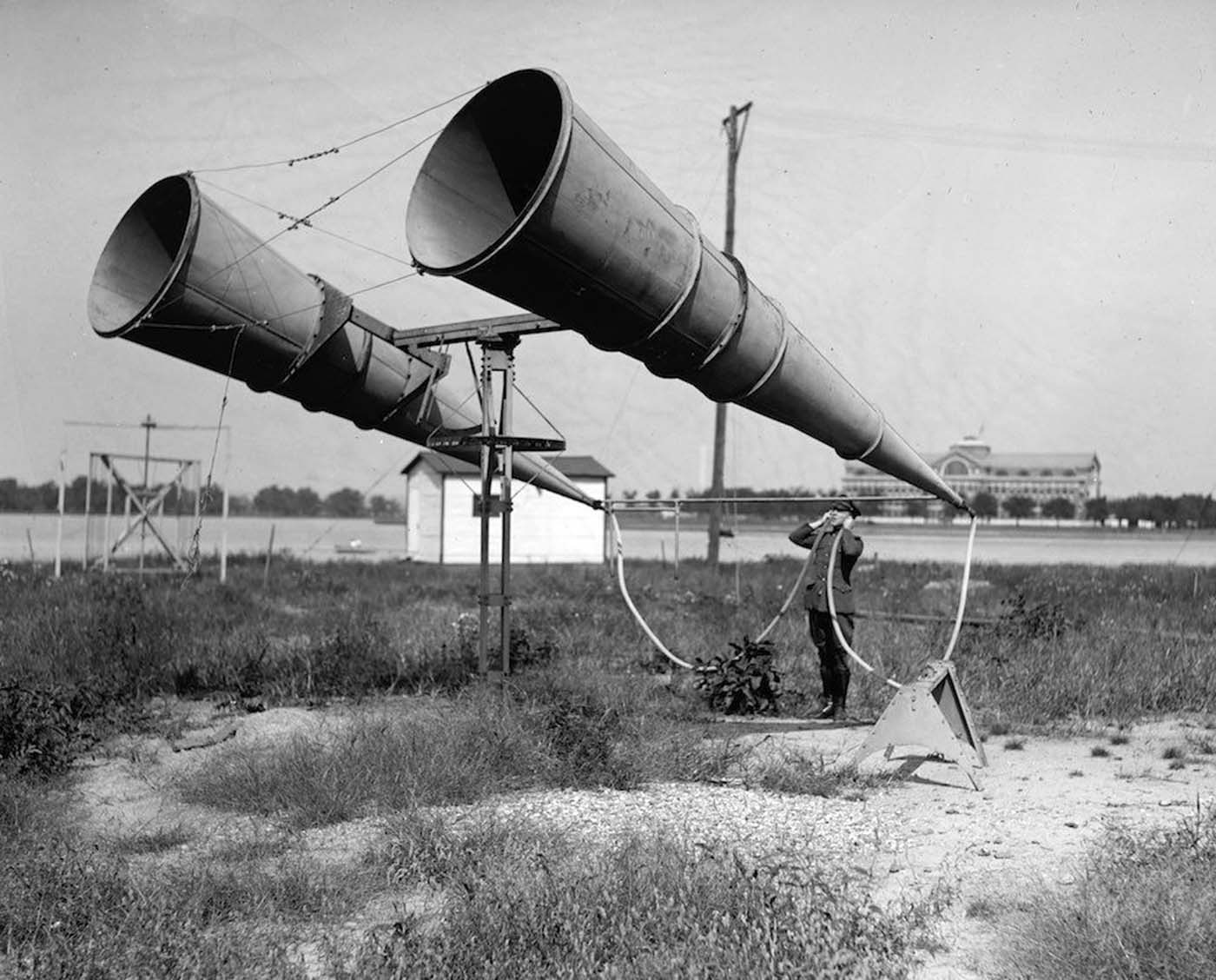 Aircraft engines produced unprecedented sound, so in order to hear them at a distance, the war efforts developed listening devices. Bolling Air Field horn amplifiers. 1921.