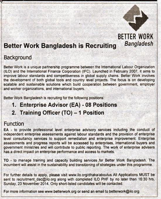 All Newspaper Jobs: Better Work Bangladesh, Position
