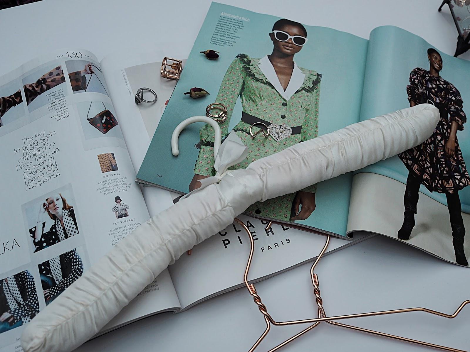 magazines & hangers flatlay