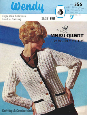1960s vintage crochet pattern; Wendy; Mary Quant; white blazer jacket with navy edging