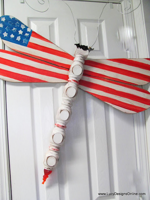 American flag art dragonfly