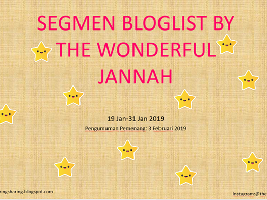SEGMEN BLOGLIST BY THE WONDERFUL JANNAH
