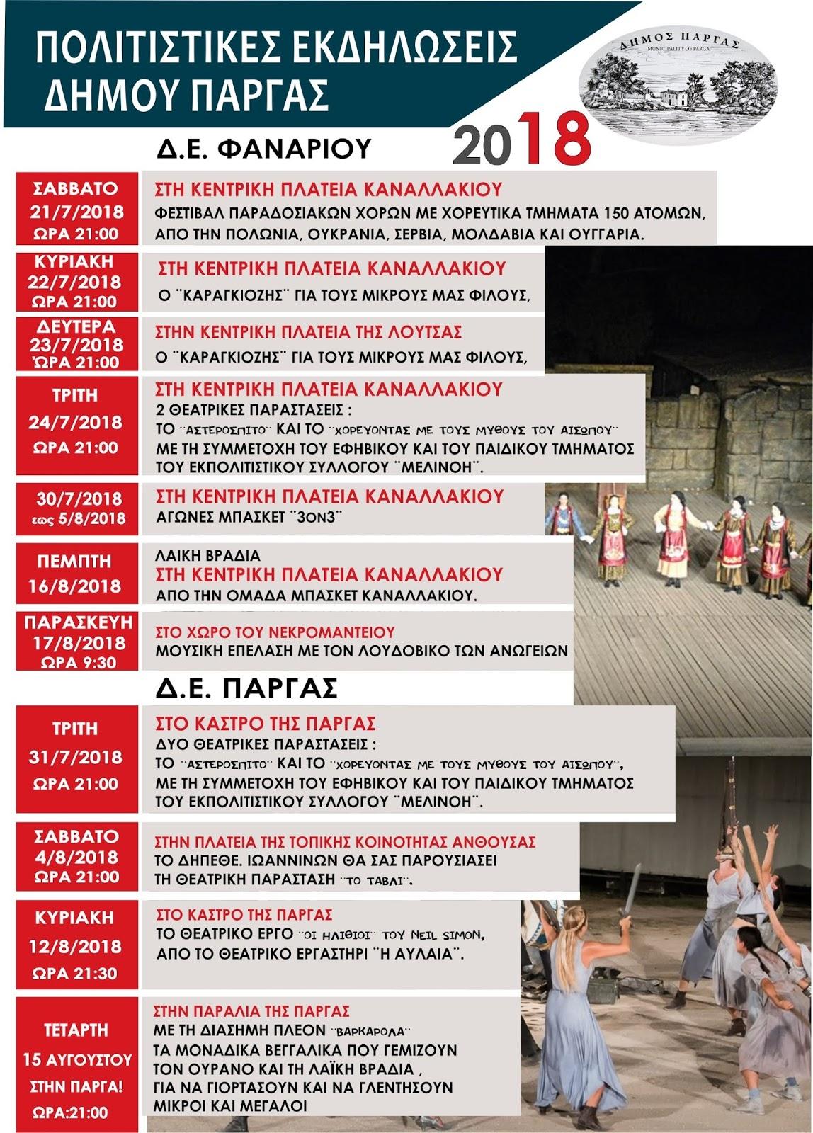 Ολες οι θερινές πολιτιστικές εκδηλώσεις του Δήμου Πάργας