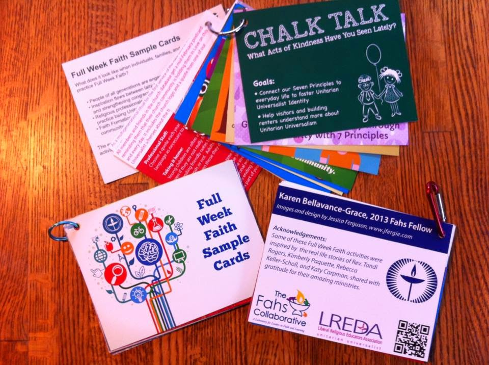 """Full Week Faith Sample Cards,"" small cards attached by metal rings, with Unitarian Universalist inspirational/religious messages."