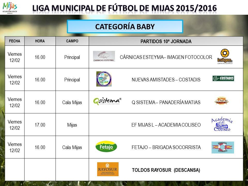 horarios 10 jornada liga municipal