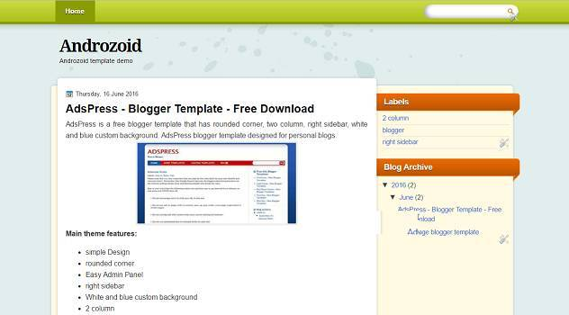 Androzoid Blogger Template - tech blog