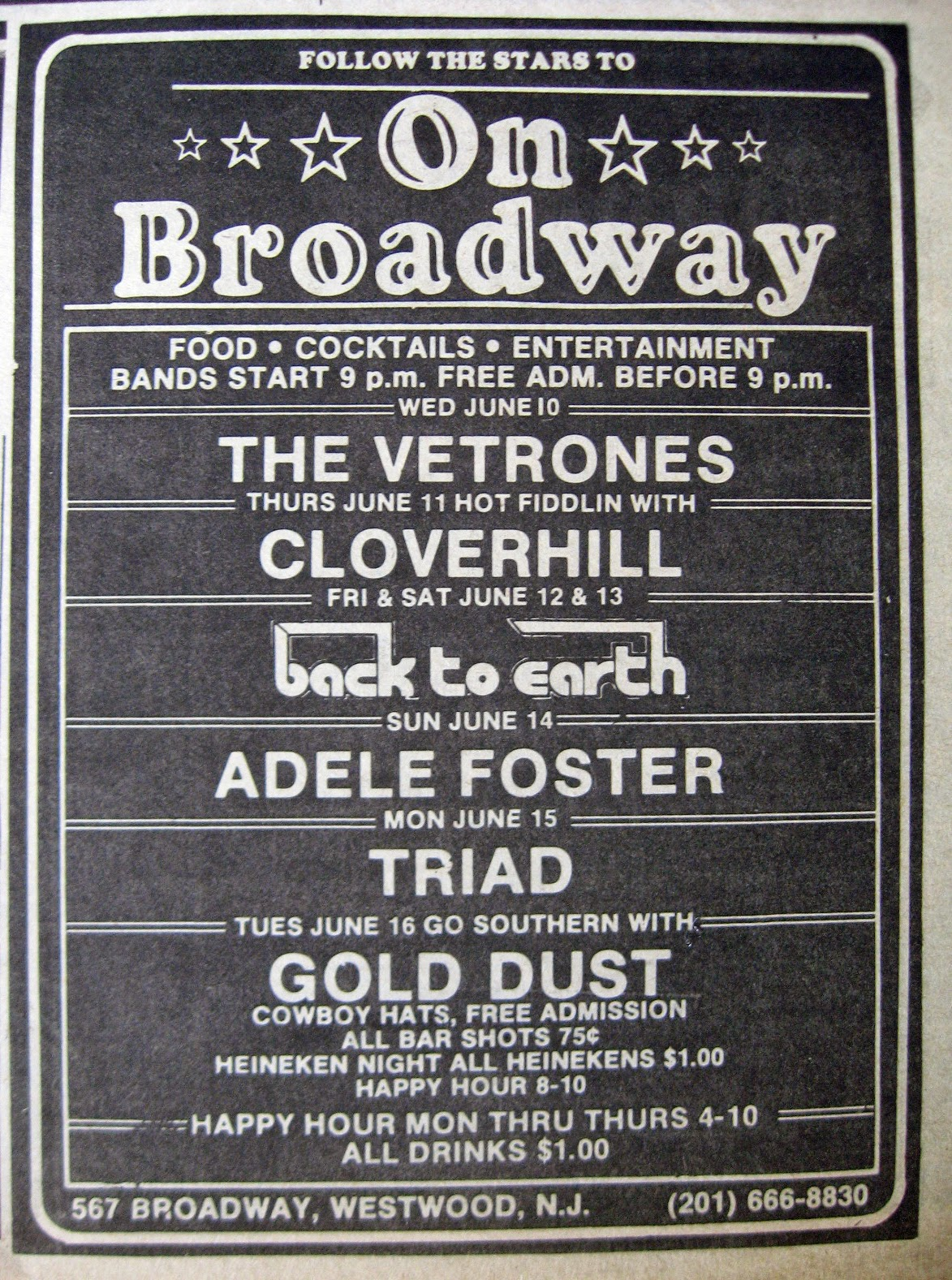 On Broadway band line up