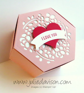 "Stampin' Up! Valentine Window Box from 2017 Occasions Catalog , Thoughtful Banners ""I love you"" tag #stampinup www.juliedavison.com"