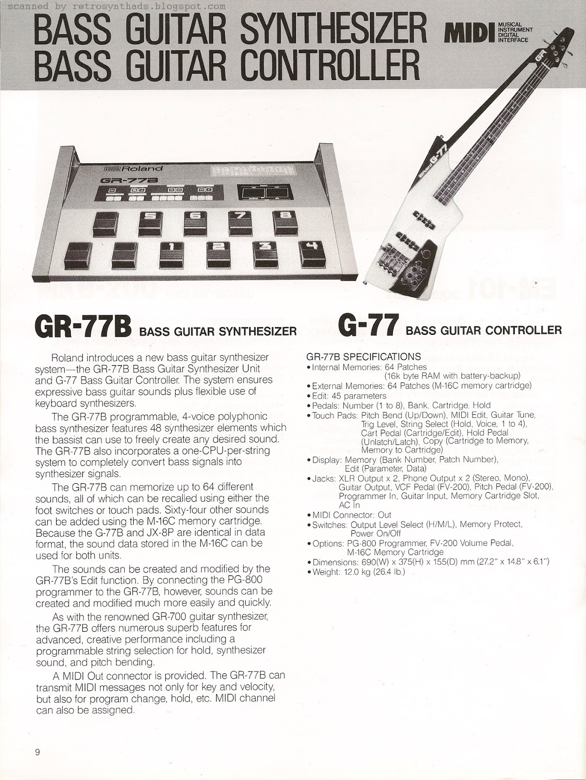 1985 Roland New Product News for NAMM show 16 page black and white brochure from June 1985