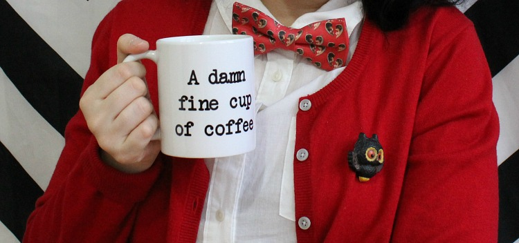 A Vintage Nerd, 1960s Retro Fashion, Eshakti Red Dress,  Twin Peaks, Damn Fine Coffee