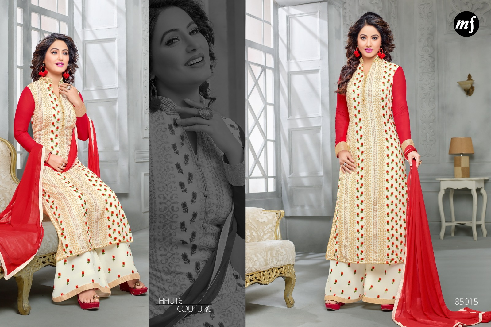 Heenari-6- Beautiful Stylish Georgette with heavy Work Dress material