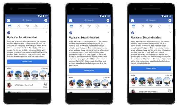 pesan facebook untuk akun terkena dampak isu keamanan terbaru