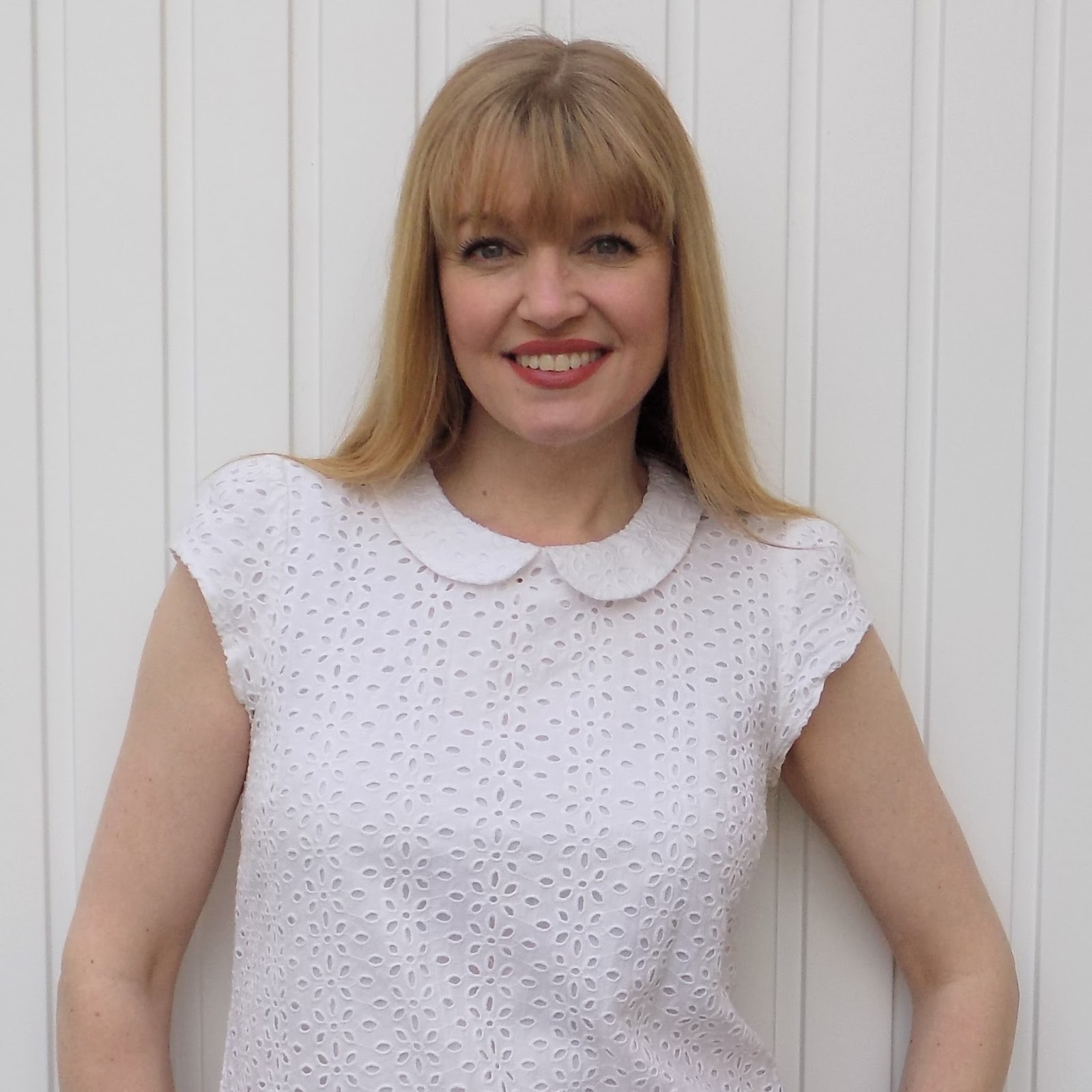 Broderie anglaise top with Peter Pan collar