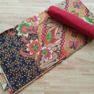 kain batik motif bunga parang merah
