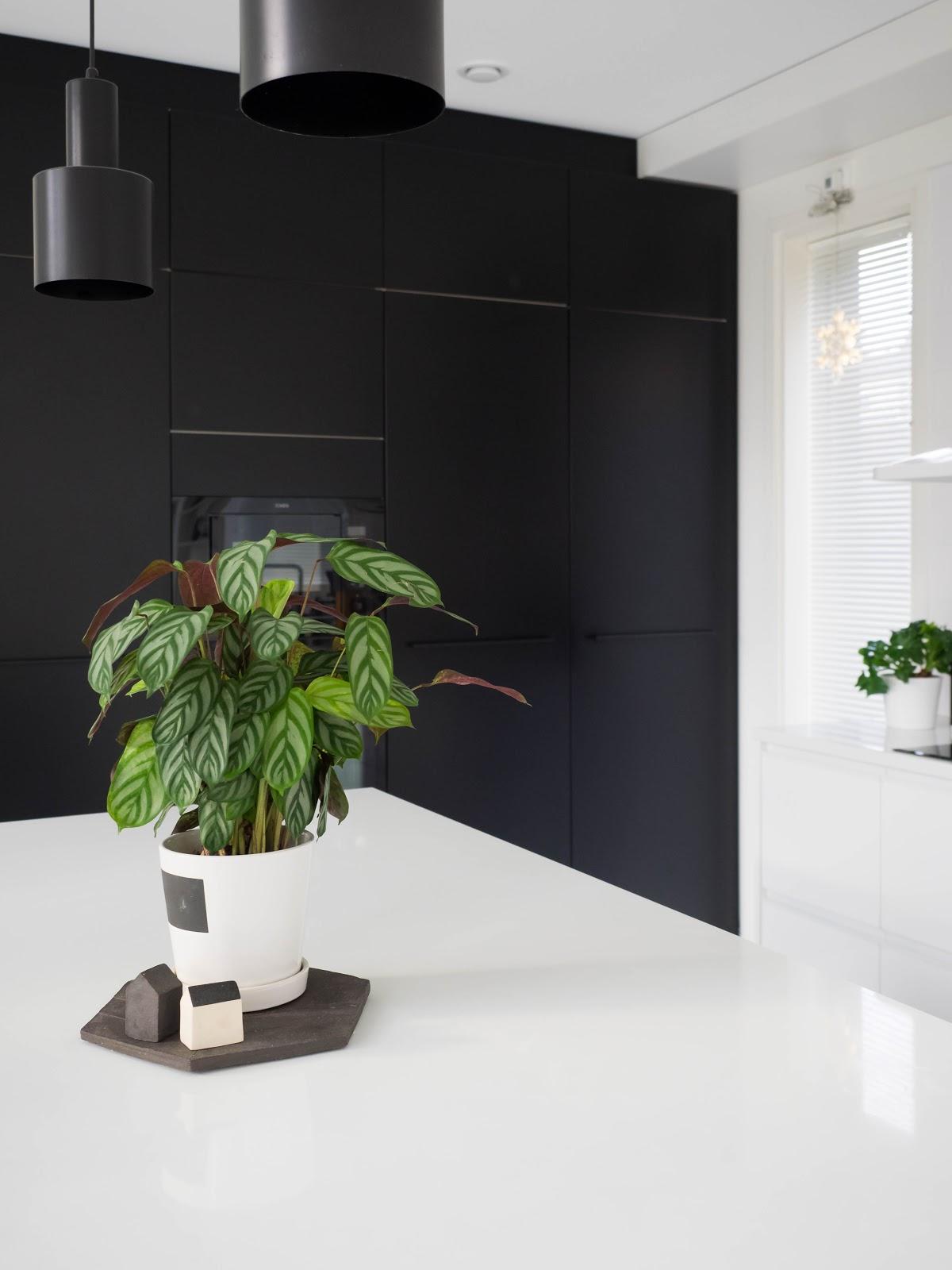 Talostakoti keittiö sisustus mustavalkoinen