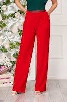 Pantaloni StarShinerS rosii casual evazati cu talie medie
