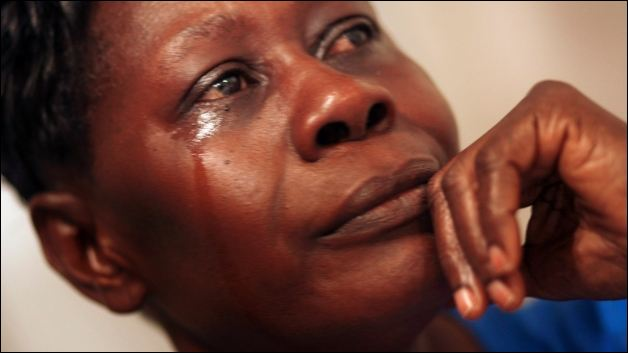 African black woman crying