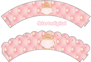 Corona Dorada en Fondo Rosa: Wrapper y Topper para Cupcakes para Imprimir Gratis