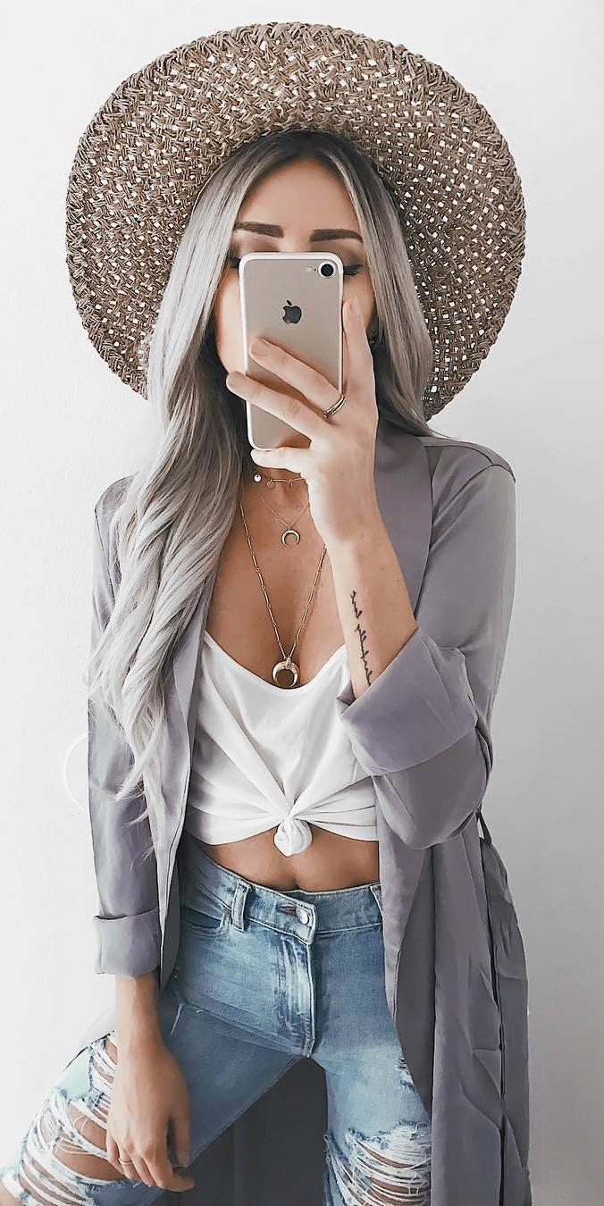 trendy outfit _ hat + cardigan + white top + ripped jeans