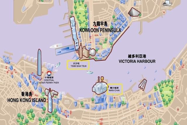Map of Hong Kong showing the real-life location of Tsim Sha Tsui
