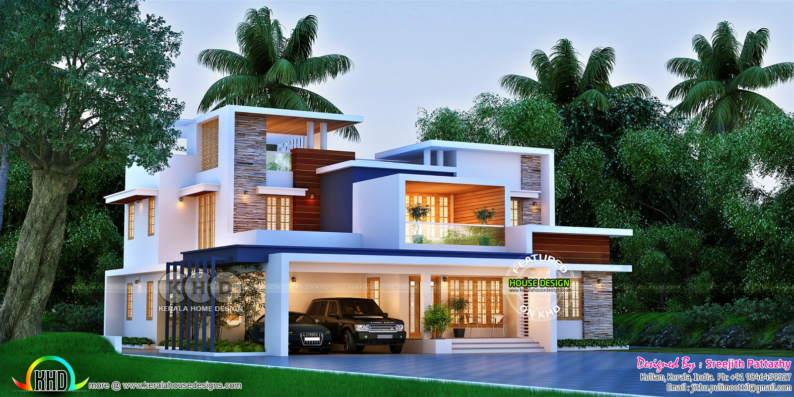 Superb Box Model Contemporary House 3420 Sq Ft Kerala