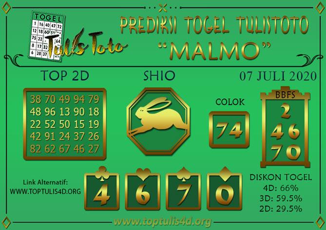 Prediksi Togel MALMO TULISTOTO 07 JULI 2020