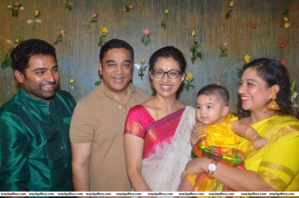 Kamal Haasan and girlfriend Gautami Tadimalla attended the naming ceremony of dance master Shobis daughter
