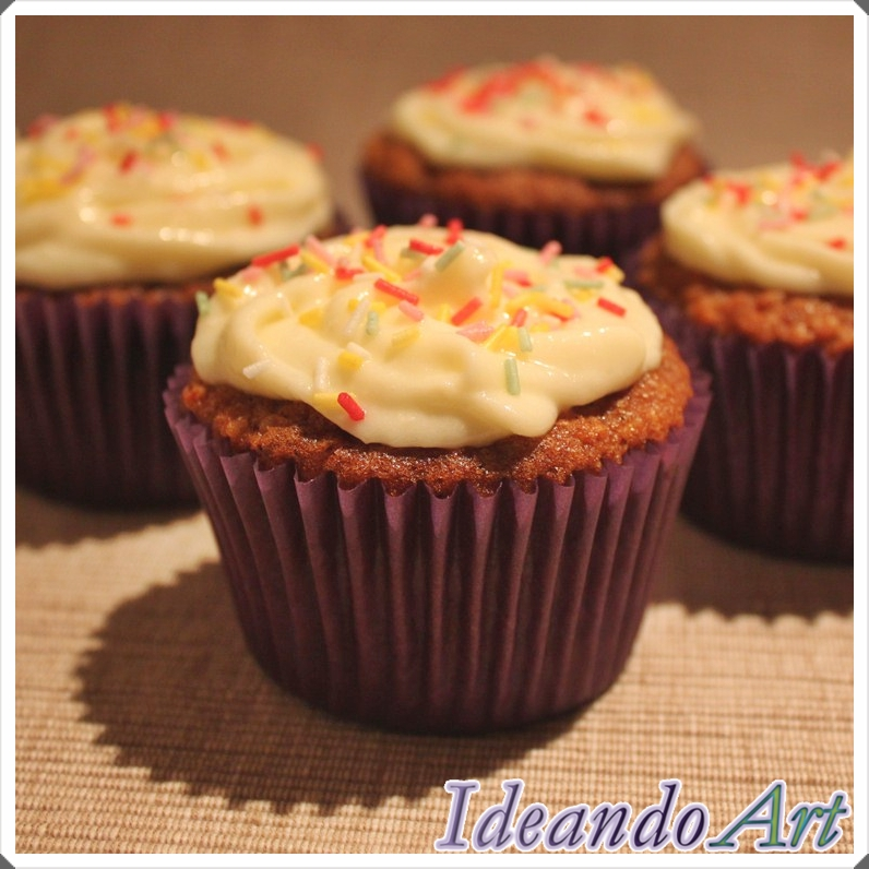 Cupcakes zanahoria decorados cream cheese icing