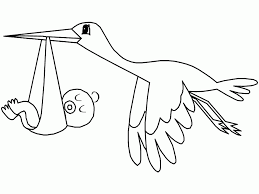 Cute White Stork Carrying Baby Coloring Pages Animals