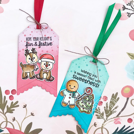 Sunny Studio Stamps: Gleeful Reindeer and Jolly Gingerbread Christmas Themed Gift Tags by Lexa Levana