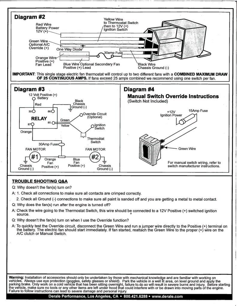 Derale Relay Wiring Diagram Blog About Diagrams Electric Fans Cherokee Fan Thermostat