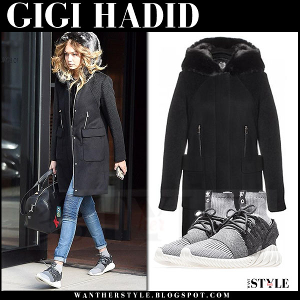 Gigi Hadid in black hooded dawn levy lara coat and skinny jeans what she wore streetstyle