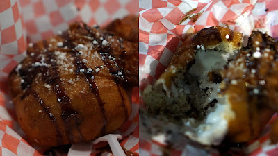 the outside and inside of a fried Klondike Bar at the San Diego County Fair