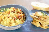 Cous-cous con verduras, manzana y pollo al curry