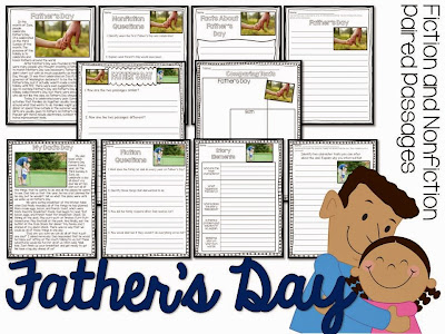 Fathers Day paired passages for the summer- summer reading activities for june and july