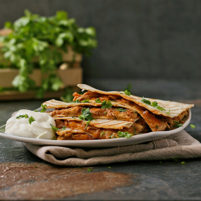 Quesadillas with barbecue chicken and cheese.