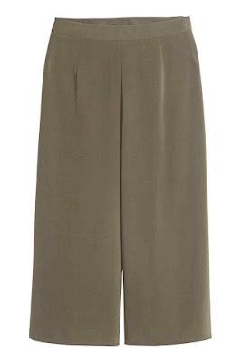 spodnie culotte l kolor khaki l rozkloszowane culottes