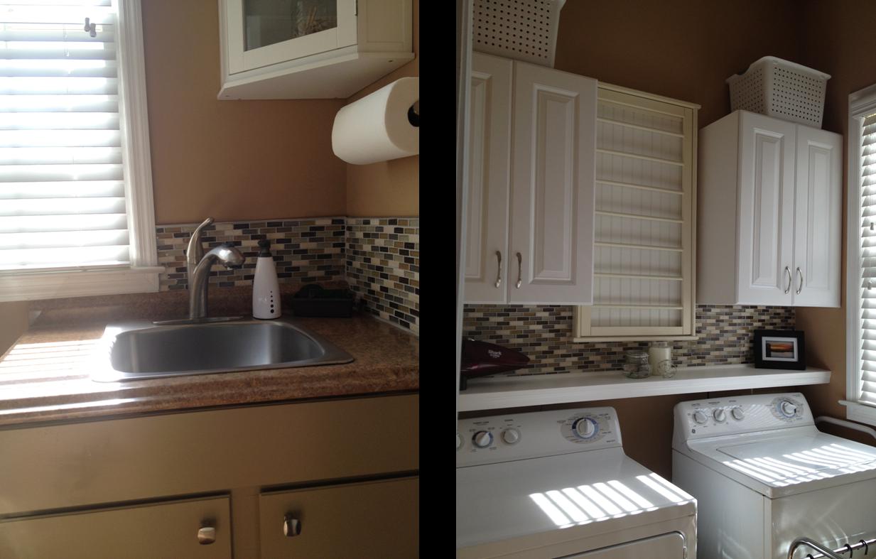 CasaLupoli: Laundry Room Update: Glass Mosaic Backsplash